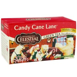 Celestial seasonings candy cane lane holiday green tea decaffeinated - 20 tea bags, 6 pack