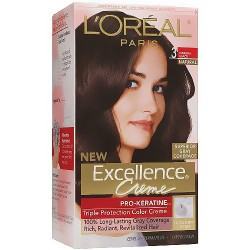 LOreal Excellence Triple Protection Hair Color Creme, 3 Natural Black - 1 EA