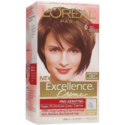 LOreal Excellence triple protection hair color creme, #6 light brown - 1 ea
