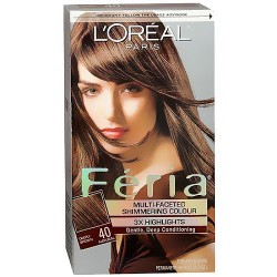 Loreal Feria multi faceted shimmering hair color, 40 espresso (deeply brown), 1 ea