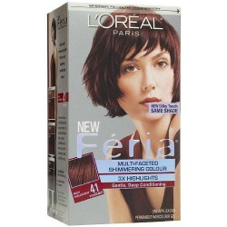Loreal feria multi faceted shimmering hair color, 41 crushed garnet - 1 ea