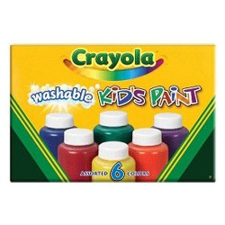 Crayola washable kids 2 oz paint bottles, assorted colors - 6 ea