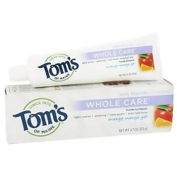 Toms of maine whole care natural toothpaste, orange mango gel - 4.7 oz
