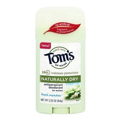 Toms of maine naturally dry antiperspirant deodorant for women, fresh meadow - 2.25 oz, 6 pack
