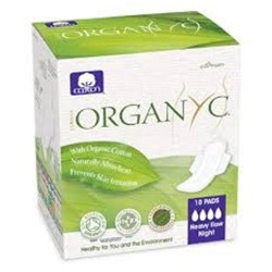 Organyc organic cotton pads folded heavy flow night - 10 ea