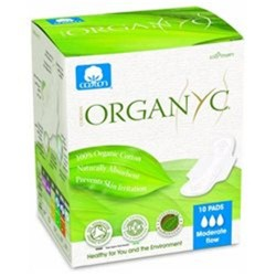 Organyc organic cotton menstrual pads with wings moderate flow - 10 ea