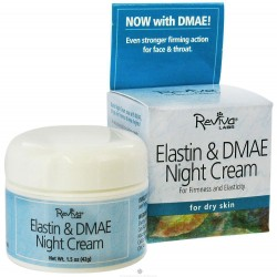 Reviva Elastin And DMAE Night Face Cream For Firmness and Elasticity, Dry Skin - 1.5 oz