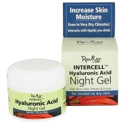 Reviva Intercell Night Face Gel With Hyaluronic Acid, Increase Skin Moisture - 1.25 oz