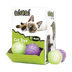 Ourpets Company go! cat go! chase, rattle & roll cat toy display - 2 inch/24 piece, 4 ea