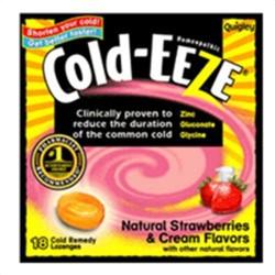 Cold-eeze cough suppressant lozenges, natural strawberries and cream flavors - 18 ea/bag