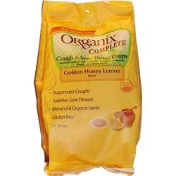 Organix complete cough and sore throat drops golden honey lemon, 21 ea