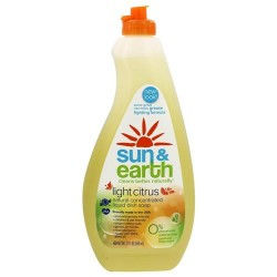 Sun & earth - natural concentrated liquid dish soap light citrus - 22 oz. (650Ml)