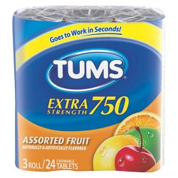 Tums extra strength assortied fruit tablets - 12 ea
