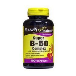 Mason Natural Super B-50 Complex With 400 Mcg Folic Acid Capsules - 100 Ea