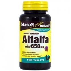 Mason Natural Double Strength Alfalfa 650Mg Tablets - 100 Ea
