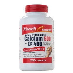 Mason Natural Oyster Shell Calcium 500 Mg Tablets With Vitamin D3 - 250 Ea