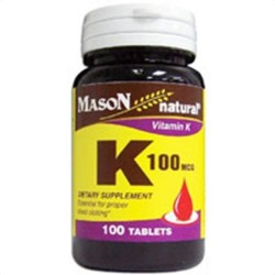 Mason Natural Vitamin K 100 Mcg Dietary Supplement Tablets - 100 Ea
