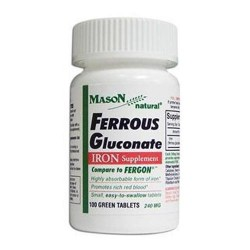 Mason Natural Ferrous Gluconate 240 Mg Iron Supplement - 100 Green Tablets