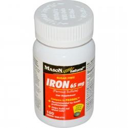 Mason Natural Ferrous Sulfate Iron Supplement Green Tablets - 100 ea