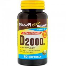 Mason naturals vitamin D 2000 Iu ultra strength softgels - 60 ea