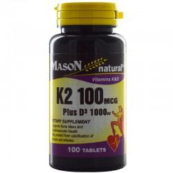 Mason Natural Vitamin K2 100 Mcg Plus D3 1000 Iu Tablets - 100 Ea