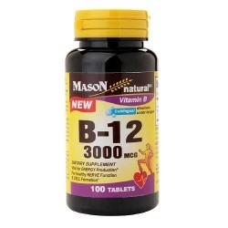 Mason Natural Vitamin B-12 Sublingual 3000 Mcg Tablets - 100 Ea