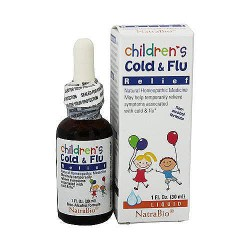 NatraBio Natural Homeopathic Childrens Cold and Flu Relief Liquid - 1 oz