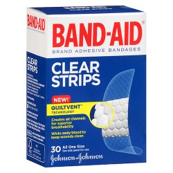 Band aid clear strips adhesive bandages one size - 3 ea