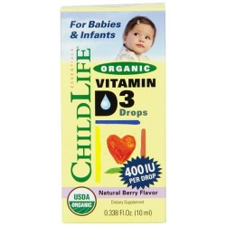 Childlife, organic vitamin d3 drops 400iu per drop, natural berry flavor - 0.338 oz
