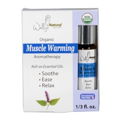 Wallys natural products aromatherapy blend organic rollon essential oils muscle warming - 0.33 oz