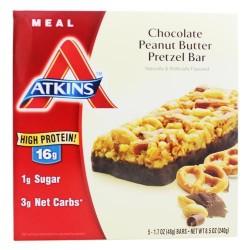 Atkins, Chocolate Peanut Butter Pretzel Bar - 5 bars (48 g each)
