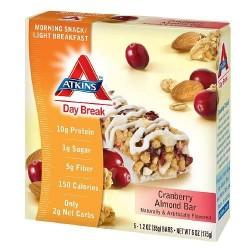 Atkins day break cranberry almond bar, 1.2 oz - 5 ea