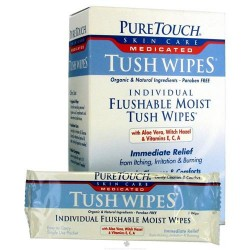 Pure Touch Skin Care Tush Wipes, Medicated - 24 packets