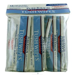 Pure Touch Skin Care Tush Wipes, Medicated - 12 packets