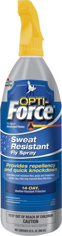 Manna Pro - Fly opti-force sweat resistant fly spray - 1 quart, 6 ea