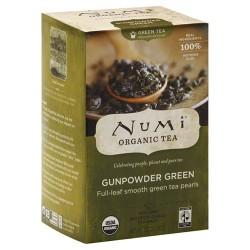 Numi organic green tea medium caffeine, Gunpowder green - 18 ea