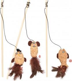 Ethical Cat corkies teaser wand w/catnip cat toy - 15 inch, 48 ea
