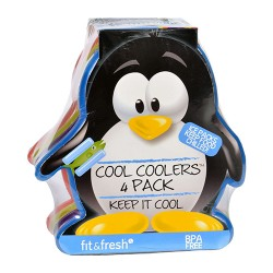 Fit and fresh ice packs cool coolers multicolored penguin - 4 ea