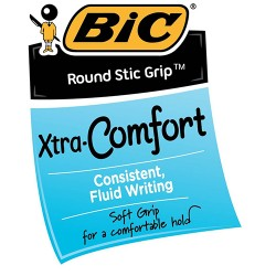 Bic ultra round stic grip easy glide medium point ball pen  - 6 ea