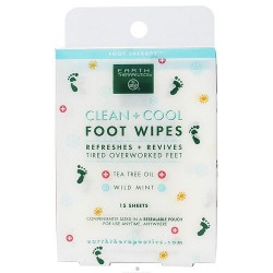 Earth Therapeutics clean plus cool foot wipes, tea tree oil - 15 ea