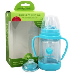 Green sprouts - glass sip 'n straw cup aqua - 4 oz