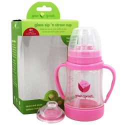 Green sprouts - glass sip 'n straw cup pink - 4 oz