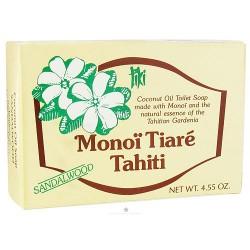 Monoi Tiare Tahiti coconut oil toilet soap with sandalwood - 4.6 oz