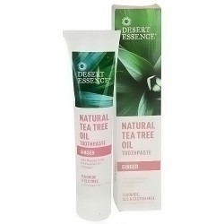 Desert Essence natural tea tree oil toothpaste, Fluoride free, Ginger, 7 oz