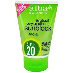 Alba Botanica Emollient Mineral Facial Sunblock SPF 20 - 4 oz