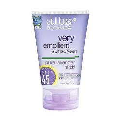 Alba Botanica very emollient natural protection sunblock SPF 45, Pure Lavender - 4 oz