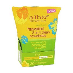 Alba Botanica Hawaiian Natural 3 in 1 Clean Towelettes - 30 ea