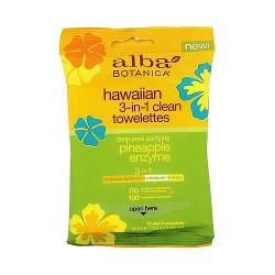 Alba Botanica Hawaiian 3-in-1 Clean Towelettes, Pineapple Enzyme - 10 ea, 8 pack