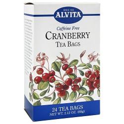 Alvita caffeine free cranberry tea bags - 24 ea
