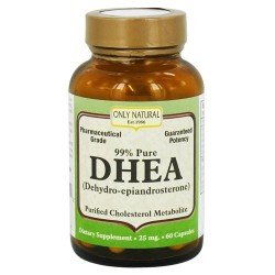 Only natural dhea 99% pure 25 mg capsules - 60 ea